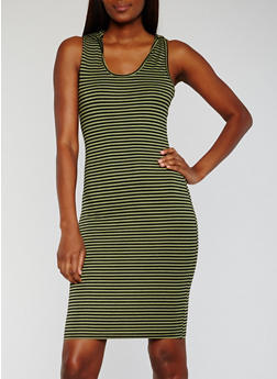 Sleeveless Striped Tank Dress with Hood - 0094038347807