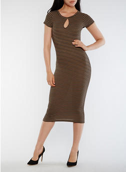 Striped Rib Knit Midi Dress with Keyhole - 0094038347809