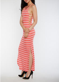 Striped Rib Knit Maxi Dress with Caged Sides - 0094038347813