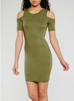 Cold Shoulder Rib Knit Bodycon Dress - OLIVE - 0094038347814