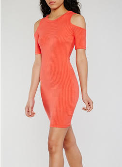 Cold Shoulder Rib Knit Bodycon Dress - 0094038347814