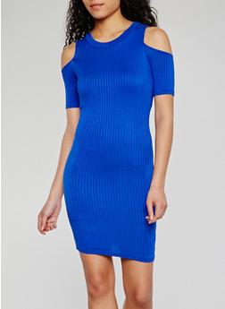Cold Shoulder Rib Knit Bodycon Dress - 0094038347814