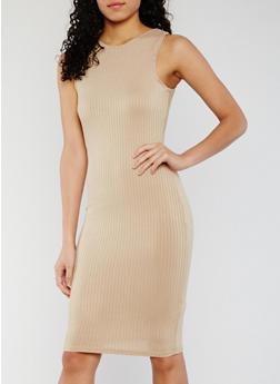 Sleeveless Rib Knit Bodycon Dress - 0094038347815