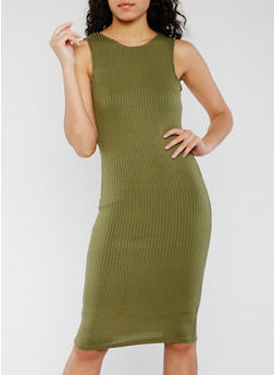 Sleeveless Rib Knit Bodycon Dress - OLIVE - 0094038347815