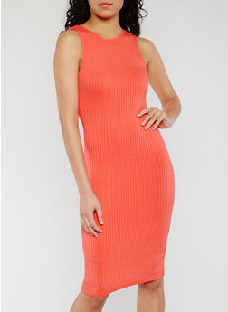 Sleeveless Rib Knit Bodycon Dress - 0094038347815