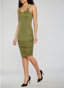 Double Strap Rib Knit Dress with Necklace - OLIVE - 0094038347817