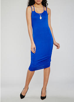 Double Strap Rib Knit Dress with Necklace - 0094038347817