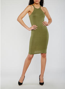 Rib Knit Halter Bodycon Dress - OLIVE - 0094038347818