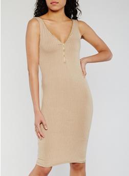 Sleeveless Half Zip Rib Knit Bodycon Dress - 0094038347819