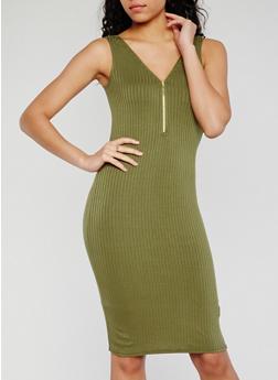 Sleeveless Half Zip Rib Knit Bodycon Dress - OLIVE - 0094038347819