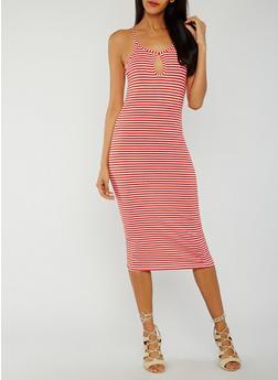 Striped Rib Knit Tank Dress with Keyhole - 0094038347821