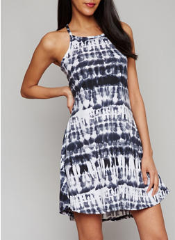 Sleeveless Tie Dye Shift Dress - 0094038347830