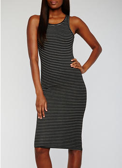 Striped Rib Knit Racerback Midi Dress - 0094038347837