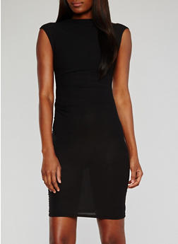 Cap Sleeve Bodycon Dress with Ruched Sides - BLACK - 0094038347838