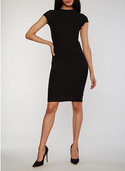 Soft Knit Cap Sleeve Mock Neck Bodycon Dress - BLACK - 0094038347839