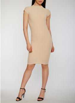 Soft Knit Cap Sleeve Mock Neck Bodycon Dress - 0094038347839