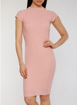 Soft Knit Cap Sleeve Mock Neck Bodycon Dress - 0094038347839