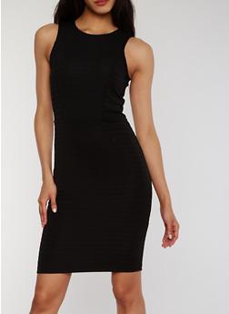 Solid Scoop Neck Bandage Tank Dress - BLACK - 0094038347846