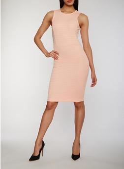 Solid Scoop Neck Bandage Tank Dress - BLUSH - 0094038347846