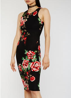 Floral Midi Racerback Bodycon Dress - 0094038347853