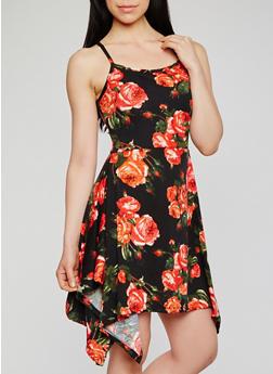 Floral Asymmetrical Hem Sundress - 0094038347902