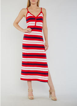Striped Henley Maxi Dress with Side Slit - 0094038347912