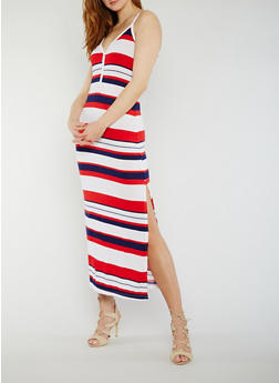 Sleeveless Striped V Neck Maxi Dress with Side Slit - 0094038347913