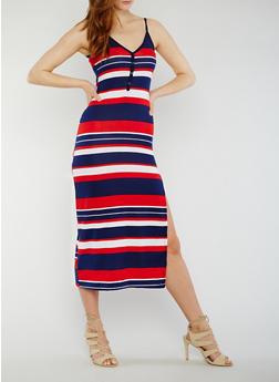 Sleeveless Striped V Neck Maxi Dress with Side Slit - 0094038347913
