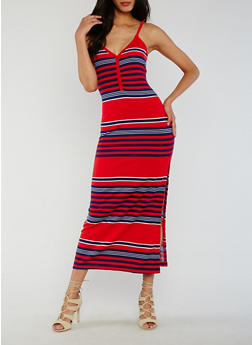 Striped Henley Maxi Dress with Side Slit - 0094038347914
