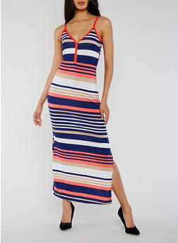 Striped Henley Maxi Dress with Side Slit - 0094038347915