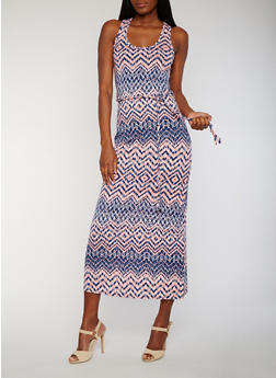 Printed Maxi Dress with Ties Waist - 0094038347917