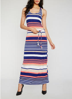 Striped Racerback Tank Dress with Belt - 0094038347918