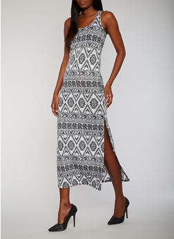 Printed Side Slit Racerback Maxi Dress - 0094038347919