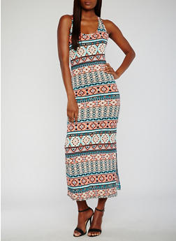 Printed Maxi Racerback Tank Dress - 0094038347920