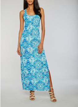 Printed Racerback Maxi Dress with Side Slit - 0094038347925