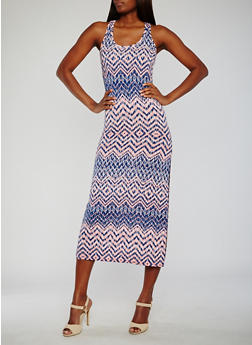 Printed Racerback Maxi Tank Dress - 0094038347927
