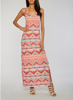 Printed Side Slit Maxi Dress - 0094038347928