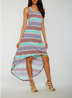 Striped High Low Racerback Tank Dress - 0094038347931