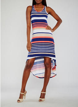 Striped High Low Racerback Tank Dress - 0094038347933
