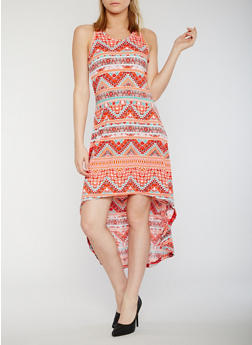 Sleeveless Printed High Low Tank Dress - 0094038347936