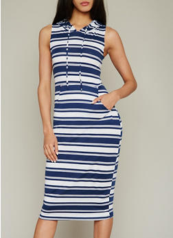 Striped Hooded Midi Dress with Kangaroo Pocket - 0094038347938