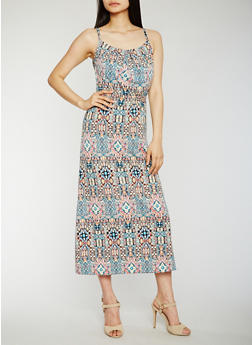Printed Maxi Dress with Cinched Waist - 0094038347945