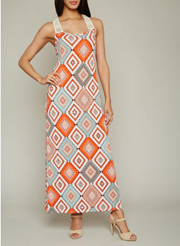 Printed Maxi Dress with Crochet Detail - 0094038347948