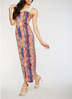 Printed Crochet Racerback Maxi Dress - 0094038347949