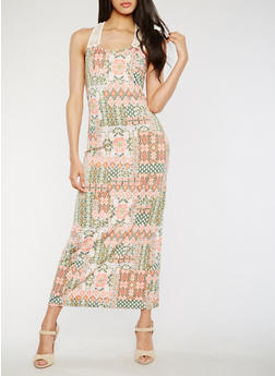 Printed Maxi Dress with Crochet Straps - 0094038347951