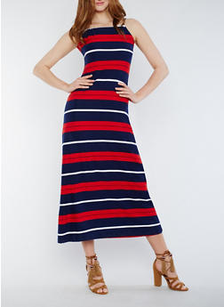 Striped Sleeveless Maxi Dress with Back Keyhole - 0094038347952