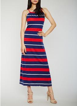 Striped Sleeveless Maxi Dress with Back Keyhole - 0094038347952