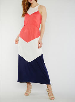 Sleeveless Color Block Maxi Dress - 0094038347977