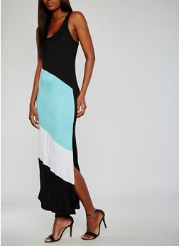 Sleeveless Color Block Maxi Dress - 0094038347978