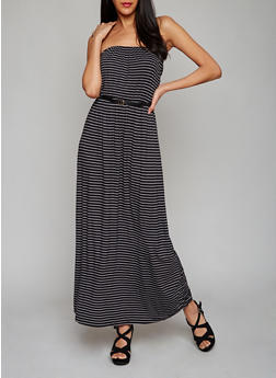 Strapless Striped Maxi Dress with Belt - 0094038347984
